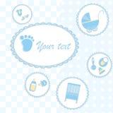 Cartão para o menino recém-nascido Imagens de Stock Royalty Free