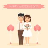 Cartão para recém-casados ilustração festiva do vetor Pares bonitos bonitos Dia do casamento feliz ilustração do vetor