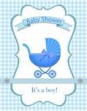 Cart?o para um menino na festa do beb? ilustração stock