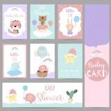 Cartão pastel violeta azul cor-de-rosa com jaritataca, estrela, urso, ballo Foto de Stock
