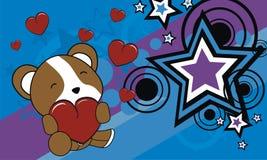 Cartão pequeno bonito do Valentim dos desenhos animados do hamster do abraço do bebê ilustração stock