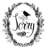 Cartão pesaroso com vinheta floral e pássaro Imagens de Stock
