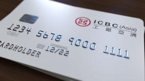 Cartão plástico com logotipo de industrial e Commercial Bank de China ICBC Rendição 3D conceptual editorial ilustração do vetor