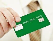 Cartão plástico eletrônico verde à disposicão Fotografia de Stock