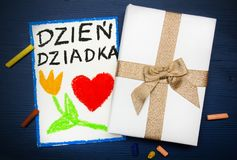 Cartão polonês do dia dos avôs com palavras: Dia dos avôs Fotos de Stock Royalty Free