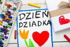 Cartão polonês do dia dos avôs com palavras: Dia dos avôs Fotografia de Stock Royalty Free