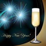 Cartão do ano novo com champanhe e fogo-de-artifício Imagens de Stock