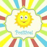 Cartão positivo com sol Fotos de Stock Royalty Free
