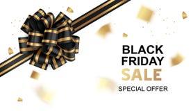 Cartão preto da venda de sexta-feira com confetes pretos da curva e do ouro ilustração do vetor