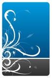 Cartão preto e azul do projeto floral ilustração royalty free
