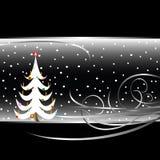Cartão preto e branco da árvore de Natal ilustração royalty free