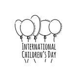 Cartão preto e branco do dia feliz do ` s das crianças Fundo tipográfico Imagens de Stock Royalty Free