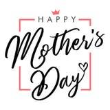 Cartão preto elegante feliz da rotulação do dia de mães Fotos de Stock