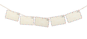 Cartão que penduram em uma corda Imagem de Stock Royalty Free