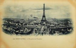 Cartão raro do vintage com vista na torre Eiffel de Trocadero em Paris, França Fotos de Stock Royalty Free