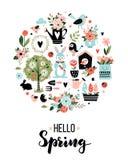 Cartão redondo com ícones e caligrafia da mola ilustração stock