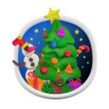 Cartão redondo feito a mão da argila de modelagem do vetor pelo Natal e o ano novo feliz Fotos de Stock