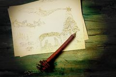 Cartão religioso do Natal, desenho a mão livre da cena da natividade foto de stock