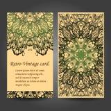 Cartão retro ajustado Cartão ou convite Fotos de Stock Royalty Free