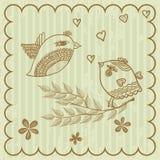 Cartão retro com pássaros Imagem de Stock Royalty Free