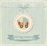 Cartão retro da festa do bebê com carrinho de criança Foto de Stock Royalty Free