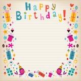 Cartão retro de papel alinhado beira do feliz aniversario Foto de Stock