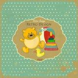 Cartão retro do bebê do projeto Fotos de Stock Royalty Free