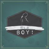 Cartão retro do bebê - seu um tema do menino Fotografia de Stock