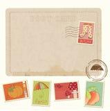 Cartão retro do convite com selos do outono Fotografia de Stock Royalty Free