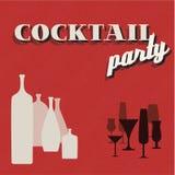 Cartão retro do convite do partido de Coctail Imagem de Stock Royalty Free