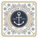 Cartão retro do cruzeiro náutico da âncora ilustração stock