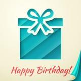 Cartão retro do feliz aniversario com caixa de presente. Vetor Fotos de Stock Royalty Free