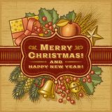 Cartão retro do Feliz Natal Fotos de Stock