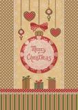 Cartão retro do Natal Fotos de Stock Royalty Free