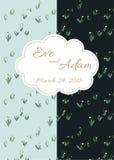 Cartão retro doce do convite do casamento do estilo Projeto floral do teste padrão de Snowdrops, vetor Fotografia de Stock Royalty Free