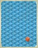 Cartão envelhecido com teste padrão dos cubos ilustração royalty free