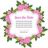 Cartão retro redondo com rosas Imagens de Stock
