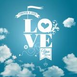 Cartão romântico abstrato. Fundo realístico do céu. Imagem do vetor. ilustração do vetor