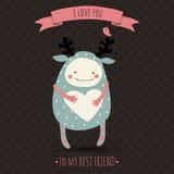 Cartão romântico bonito dos desenhos animados Fotografia de Stock