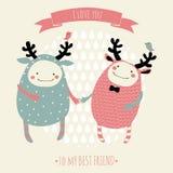 Cartão romântico bonito dos desenhos animados Fotos de Stock Royalty Free