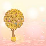 Cartão romântico com árvore dos desenhos animados ilustração royalty free