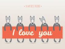 Cartão romântico com cães bonitos e corações Imagens de Stock