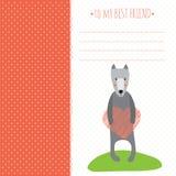 Cartão romântico com cão bonito e coração Fotos de Stock Royalty Free
