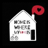 Cartão romântico com citações sobre a casa Fotos de Stock Royalty Free