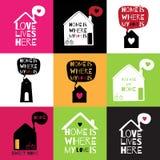 Cartão romântico com citações sobre a casa e o amor Imagem de Stock Royalty Free