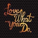 Cartão romântico com elementos da tipografia Amor que você d Fotografia de Stock Royalty Free