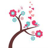 Cartão romântico com pássaros Imagens de Stock Royalty Free
