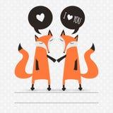 Cartão romântico com raposas Fotos de Stock