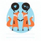 Cartão romântico com raposas Imagens de Stock Royalty Free