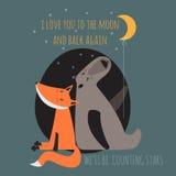 Cartão romântico com urso e raposa Fotos de Stock Royalty Free